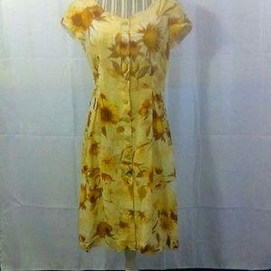 Couture Silva Gold Floral Print Dress Sz Small EUC